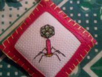 porte-clés bactériophae lambda point de croix brodé
